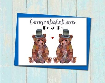 gay wedding card bear wedding card mr and mr card bear civil ceremony