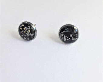 Brown Circuit Board Studs, Geek Girl Jewelry, Eco-friendly, Techie Geek Gift, Computer Jewelry, IT Engineer, Recycled, Geek Chic Earrings