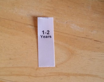 1-2 years size labels. Baby Clothing Tags