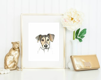Individual Custom Pet Portrait | Ink and Watercolour | A3 | Gifts for her | Gifts for Him | Painting from Photo | Pet Memorial | Home Decor