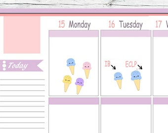 Kawaii IB or ECLP Ice Cream Party Cone  Stickers Planner Midori  Notebook Calendar Journal Use With Erin Condren Planner