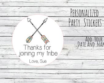 Personalized Arrow Stickers, Boho First Birthday, Rustic Theme, Arrow Labels, Personalized Stickers, Pow Wow Birthday, Tribal Theme