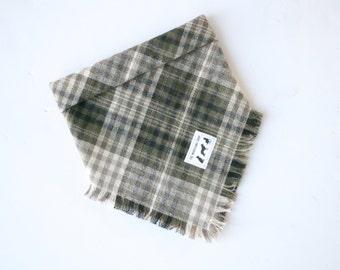 Olive-Beige plaid fray bandana