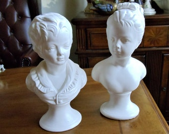 Vintage Napco Boy & Girl Bust Figurines Set of 2, Japan Collectible White Ceramic Busts of Victorian Era Young Boy and Girl Classical Decor