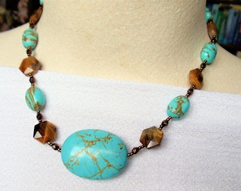 Vintage Turquoise Tribal Necklace, Turquoise & Tiger Eye Bead Necklace, Southwestern Style Gemstone Blue and Brown Bead Necklace