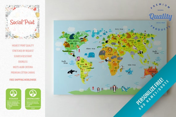 Animal world map canvas print free shipping for kids and like this item sciox Images