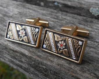 Vintage Damascene Cufflinks. Gift For Groomsmen, Groom, Dad, Anniversary, Wedding, Birthday. Floral
