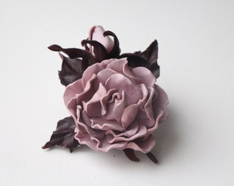 Leather  Rose Brooch, Leather jewelry, leather roses, gift for her, wedding anniversary, Mothers Day gift, leather brooch