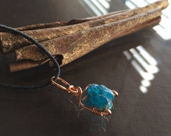 Raw Apatite Necklace, Apatite Necklace
