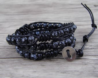 Dragon grain black agate bead Bracelet Men Bracelet Black Beads Bracelet Boho Wrap Braceet Leather Bracelet 3 Wraps Bracelet SL-0523