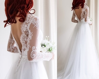 Wedding Dress/ Wedding dress with sleeves / Lace Wedding dress/ Tulle Wedding dress/ Wedding dress with Tulle Skirt