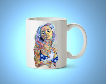 Friend gifts Coffee mug Friendship gift Tea mug Tea cup Ceramic mug Pottery mug Tea lover Psychedelic art Cute tea mug Rainbow mug Printed