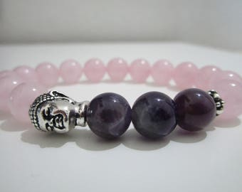 Bracelet Amethyst and Rose Quartz, Buddhist jewelry, Buddha, stones bracelet, beaded bracelet, bracelet for women, Yoga, gift for woman