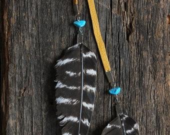 Long Feather Earrings - Boho Feather Earrings - Festival Earrings - Natural Feather Earrings  - Tribal Earrings - Blk & Wh Feather Earring