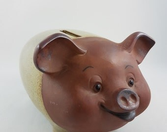 Vintage Giftco Piggy Bank, Earthenware Pig, Piggie bank, Collector, Kids Room, Nursery
