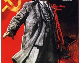"Soviet propaganda print ""Lenin lived, Lenin is alive, Lenin will live!""  USSR repro"