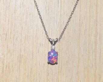 Lavender Opal Necklace, Purple Opal Necklace, Sterling Silver Opal Necklace, Silver Opal Necklace, Silver Lavender Opal Necklace