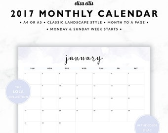 2017 MONTHLY CALENDAR / A4 Calendar / Monthly Calendar / Wall Planner / Monthly Planner / Planner / The Lola Planners in Lilac / 413