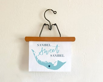 Sanibel Island Print // Hand Lettered.  Sanibel Map Art. Sanibel Location Art. Sanibel Home Decor. Sanibel Sweet Sanibel Florida Beach Decor