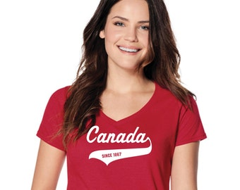 Happy 150th Birthday Canada! Canada Day t-shirt tshirt | Gift for any Canadian Ladies V-Neck tee