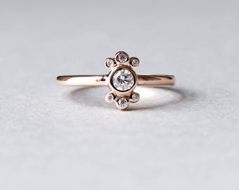 14k Rose Gold Ballerina Ring, Solitaire Ring, Bezel Ring, Statement Ring, Cluster Ring, Dainty Ring, Rose and Choc