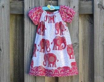 2T Elephants & Blooms Peasant Dress