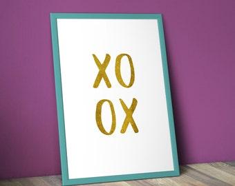 XOXO, Gold Art Print, Romantic, Printable Wall Art Prints, Instant Download Printable Art, Printable Quotes, Digital Print, Digital Download