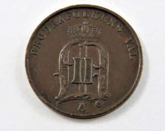 Sweden 1879 2 Ore Coin.