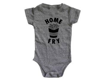 Home Fry Graphic Baby Bodysuit, Monochrome baby kids toddler, 90s kids t shirt, unique baby gift