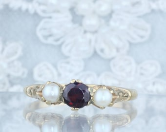 Antique Garnet Ring, Victorian Garnet Ring, Garnet and Pearl Ring, Seed Pearl Ring, Unique Engagement, January Birthstone, 9K Gold, Size 9