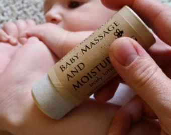 Baby Massage and Moisturizing Lotion Stick, Organic Baby Lotion Stick, Organic Baby Balm, Zero Waste Paperboard Tube