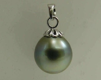 Tahitian 12.5 x 13.5mm Pearl Pendant 14k White Gold