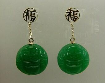 Green 12.6 mm Jade Dangle Buddha Earring 14k Yellow Gold