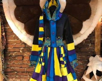 Katwise style upcycled sweater, Pixie Coat,Festival Coat,Fairy Coat,HandMade,Fair Trade,Renaissance Coat
