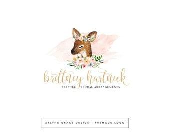 Premade Logo - Watercolor Logo - Logo Design - Deer Logo - Fawn Logo - Flower Crown Logo - Photography Logo - Floral Logo - Boutique Logo
