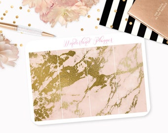 Marble Header Planner Stickers - Peach & Gold Foil Vein // Perfect for Erin Condren Vertical Life Planner