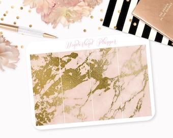 Marble Header Planner Stickers - Peach & Gold Foil Vein // Perfect for Erin Condren Vertical Life Planner