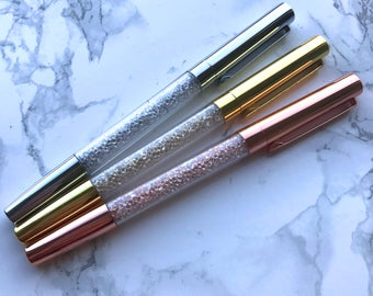 Luxury Metallic Pen With Crystals - Gold, Rose Gold & Silver
