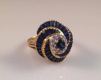 Vintage 18kt YG Sapphire Diamond Ring