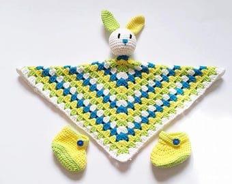 Baby lovey blanket, Newborn photo prop, Baby lovies, Newborn shoes, Lovies for newborn, Security blanket, Bunny lovey, Baby booties