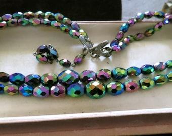 Lovely vintage 2 strand carnival glass   necklace