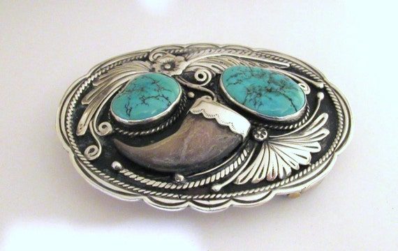 Michael Perry Native American Sterling Silver Belt Buckle beautiful design