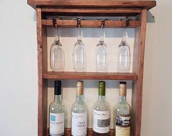 rustic wooden wine rack, distressed wine rack, solid wood wine rack, 4 glass 4 bottle wine rack holder, handmade wine rack