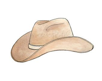 Watercolor Cowboy Hat