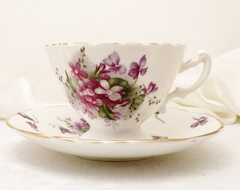Hammersley Tea Cup and Saucer, Victorian Violets, from England's Countryside Collection, 1939-1950's