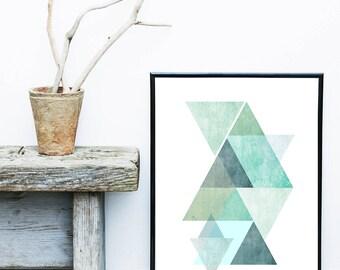 Geometric Wall Art, Blue Triangle Print, Scandi Print,  Mid Century Modern, Art Print, Giclee print, Geometric Poster, Wall Decor