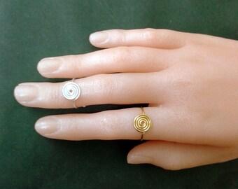 Gold Filled 14k Spiral  Swirl  Ring -Sterling Silver 925 Spiral  Swirl  Ring