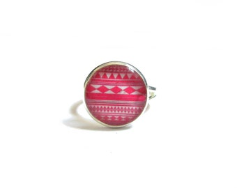 HOT PINK RING - Minimalist geometric ring - small ring - Cute little ring - Round ring - Girls Jewelry - Kids ring - kids ring - aztec ring