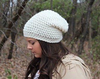 Slouchy Hat, Slouchy Beanie, Beige Hat, Beige Beanie, Crochet Hat, Crochet Beanie, Winter Hat, Cream Hat, Off White Hat,Slouch Hat,THE ASPEN