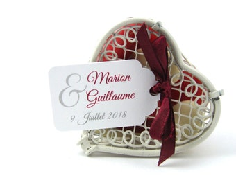 10 labels 2.4 x 4 cm, ampersand, romantic, customized for your wedding candy